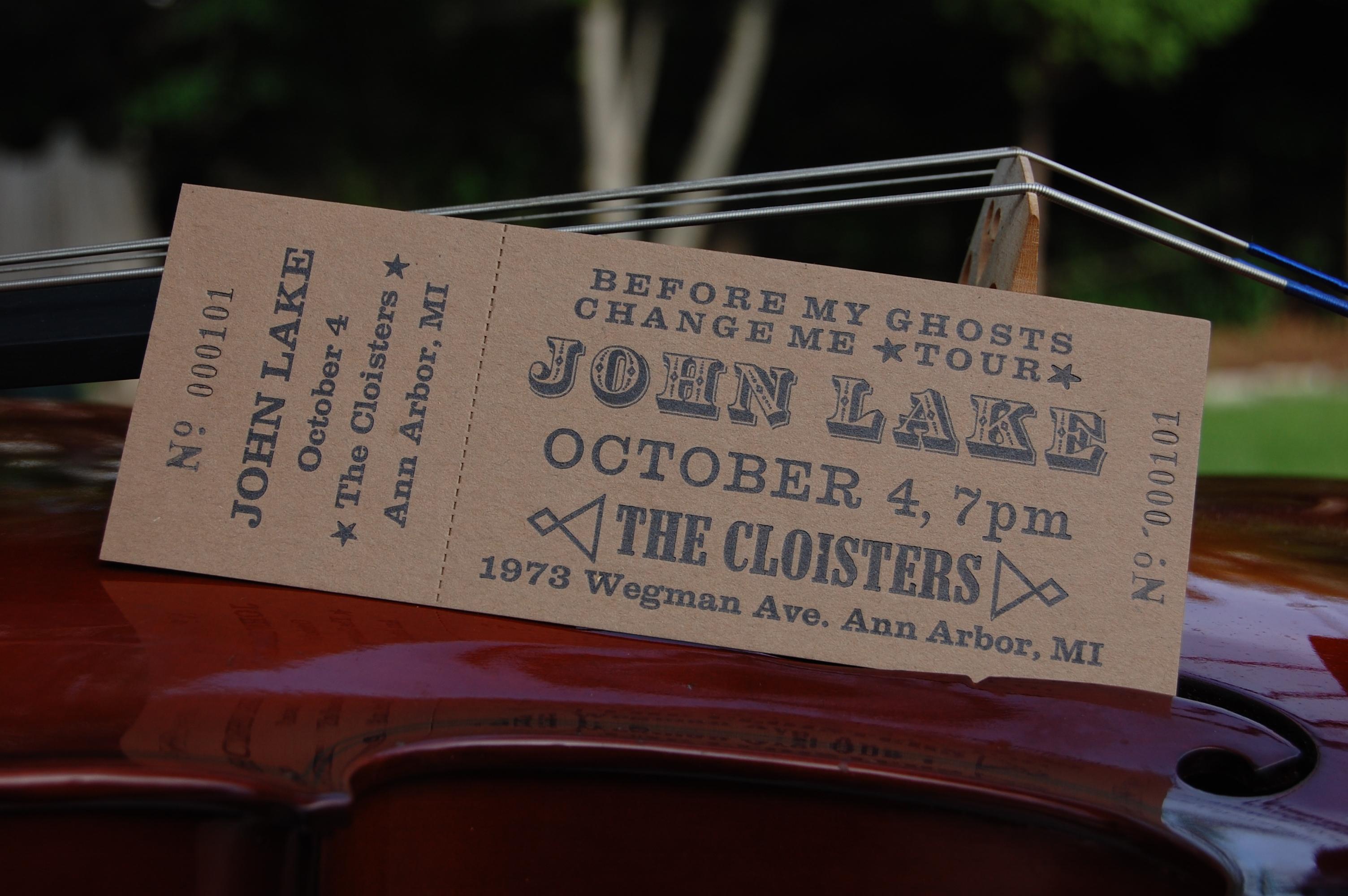 John Lake concert ticket