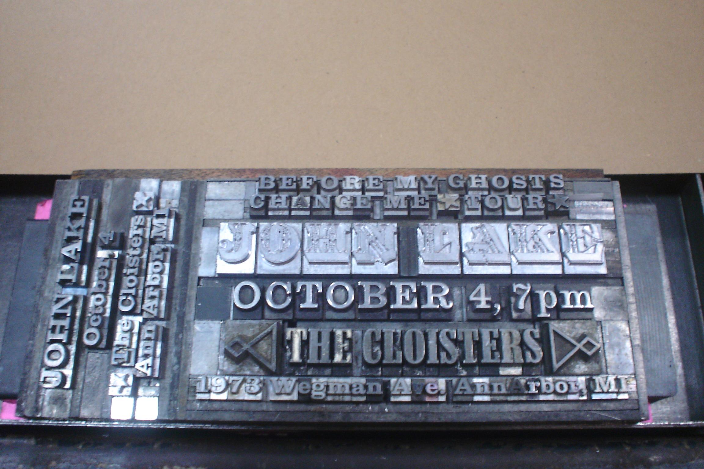 John Lake letterpress chase