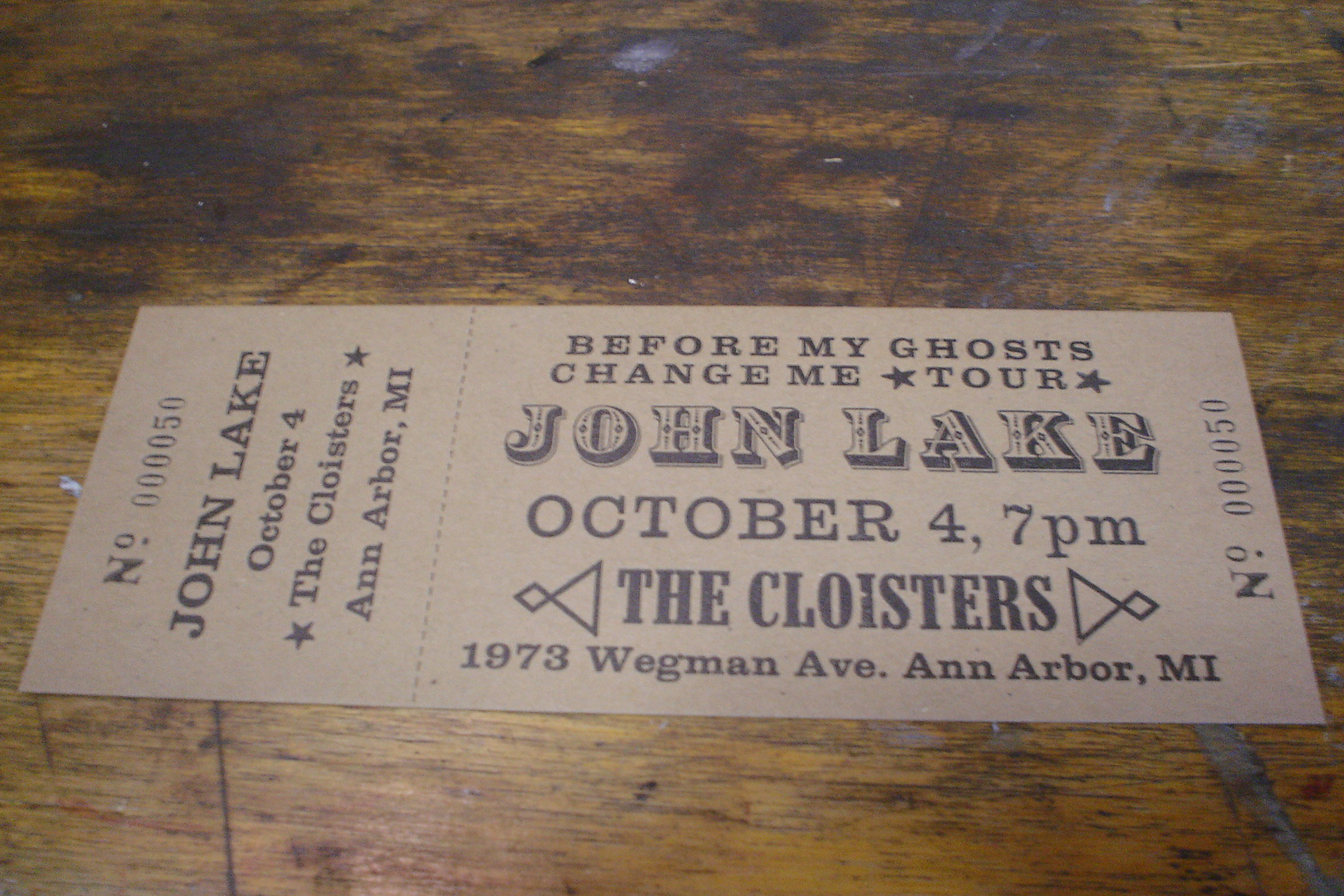 John Lake concert ticket