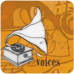 BMP Voices phonograph with words flowing from the horn